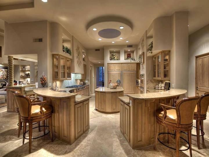 Unique Kitchen Design With Two Islands