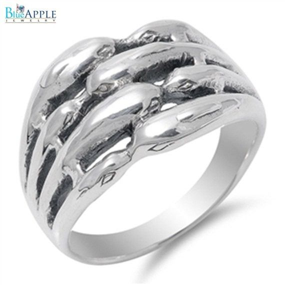 Kissing Dolphins Romantic Woman's Love Band Ring Solid 925 Sterling Silver Plain Simple 14mm Woman's Ring Size 4-16