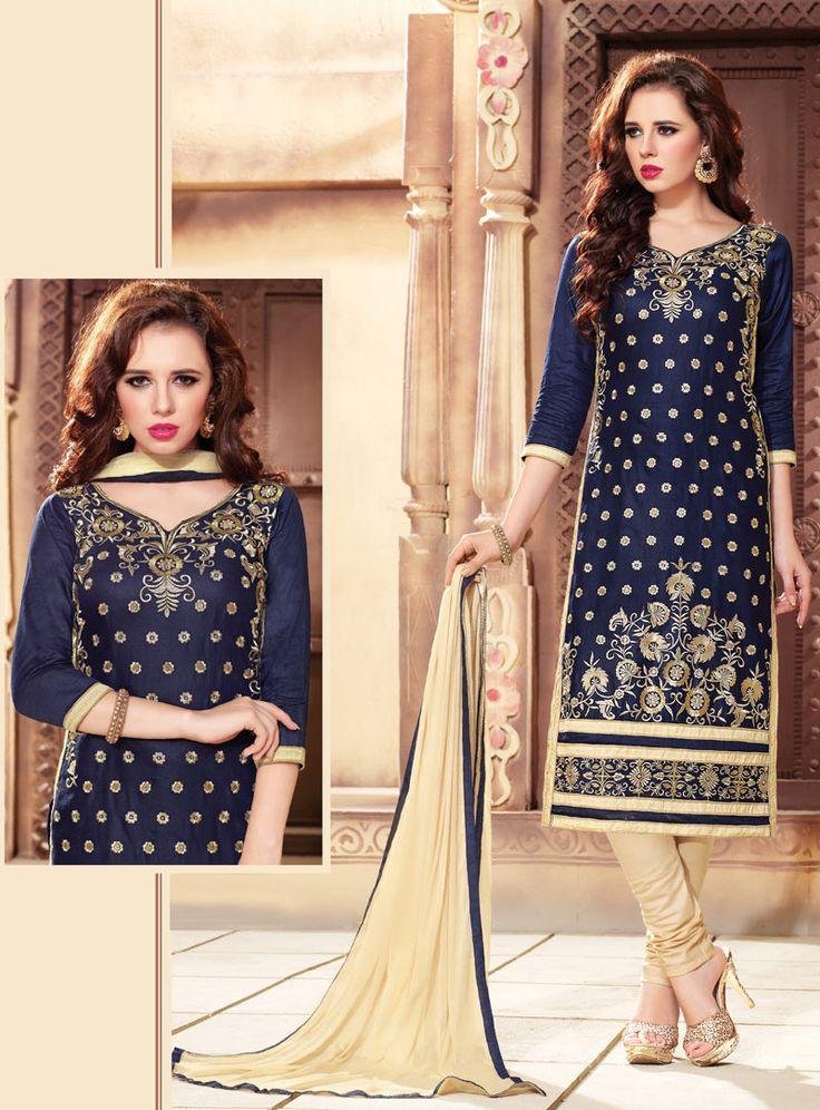 Navy Blue Cotton Kameez With Churidar 88785