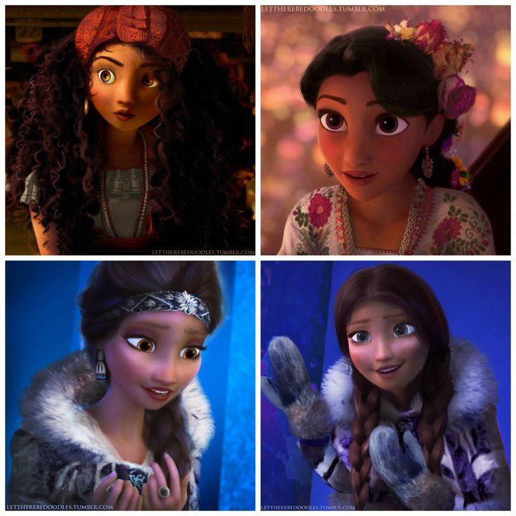 Racebent Disney Princesses (L-R: Merida (Brazilian), Rapunzel (Mexican), Elsa (Inuit), Anna (Inuit) so neat!