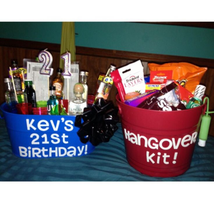 """Here's how my 21st birthday gifts turned out for my boyfriend! His day of basket consisting of mini liquor bottles, concert tickets, cigars, and shot glasses. His hangover kit filled with hot Cheetos, mouthwash, gum, Tylenol, hand sanitizer, chocolate, candy,  and chapstick. Oh and of course all of the hangover stuff was put inside a """"puke bucket"""" which I used before he did LOL!"""