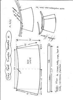 Esquema de modelagem de saia envelope simples tamanho M.