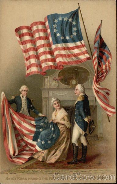 """Betsy Ross elaborando la primera bandera de la """"barras y las estrellas""""…"""