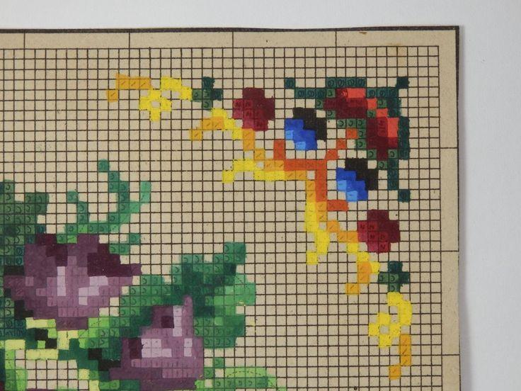 Antik Berlin Woolwork el boyaması çizelgesi 19. yüzyıl Çiçekli Garland