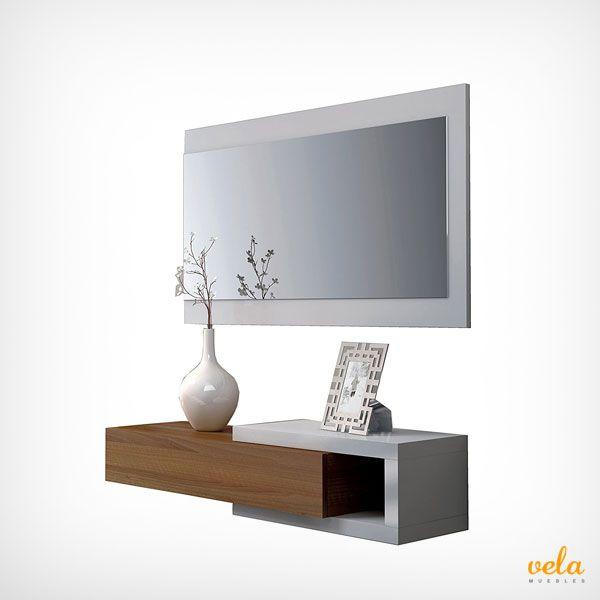 Recibidor minimalista y moderno con cajón + espejo, color blanco brillo y nogal. Con un superprecio y envío GRATIS!