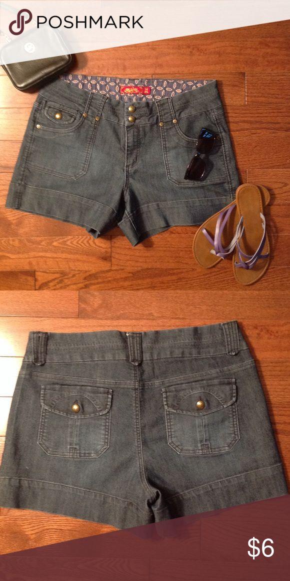Ladies denim shorts Ladies denim shorts with front pockets and back flap pockets and belt loops. Shorts Jean Shorts