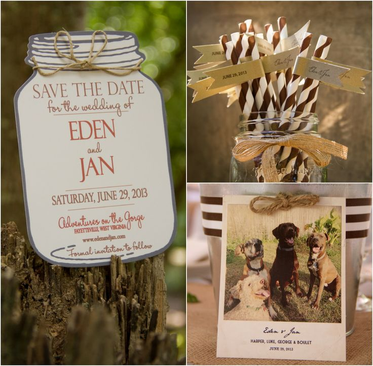 Love this mason jar save-the-date card from a rustic-themed destination wedding in West Virginia! Could be a cool DIY project for creative brides! | Rustic Wedding Chic
