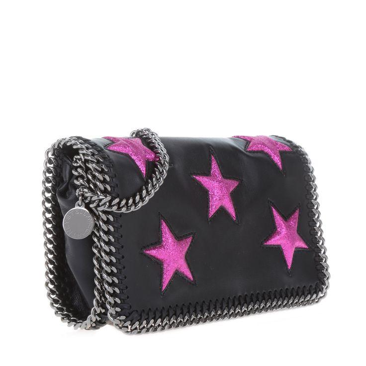 Stella McCartney Falabella Embossed Clutch Stars Black Die Mini Bag bei…