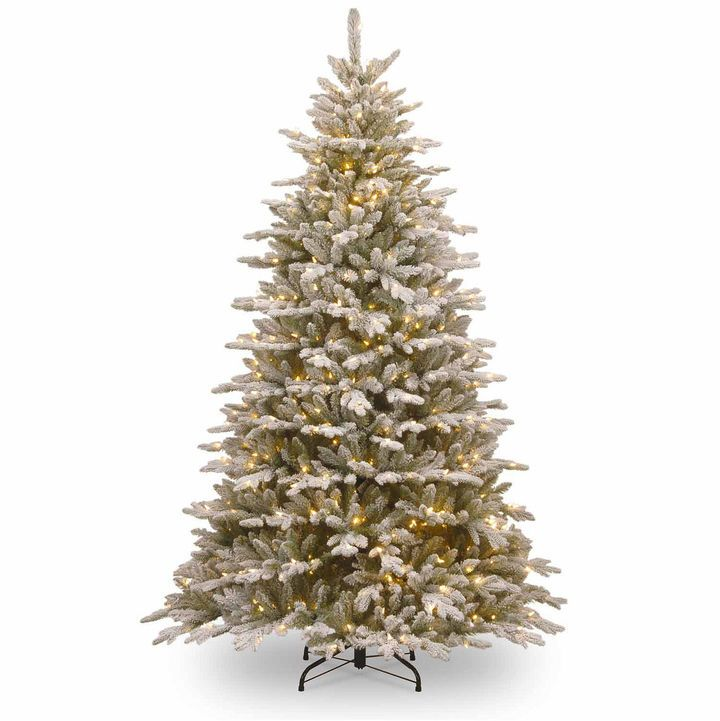 NATIONAL TREE CO National Tree Co. 7 1/2 Foot Snowy Sierra Spruce Pre-Lit Christmas Tree