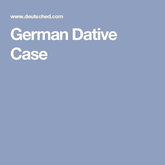 German Dative Case