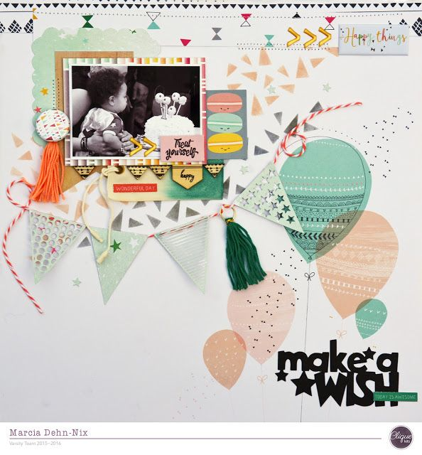 Make A Wish - scrapbook layout created with the October Clique Kit featuring the PinkFresh Studios Happy Things collection. I also used several JustNick Studios digital cut files.