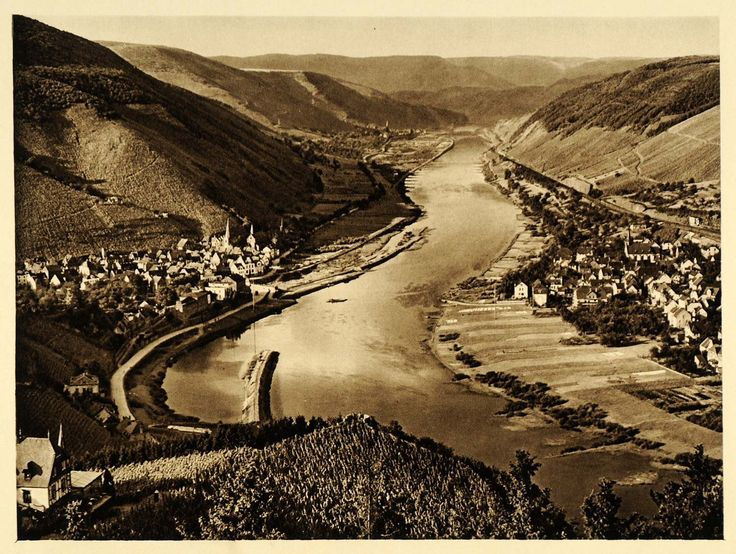 Superb  Germany Alf Bullay Mosel River Verbandsgemeinde ORIGINAL PHOTOGRAVURE GR Urlaub Pinterest Products Rivers and Originals