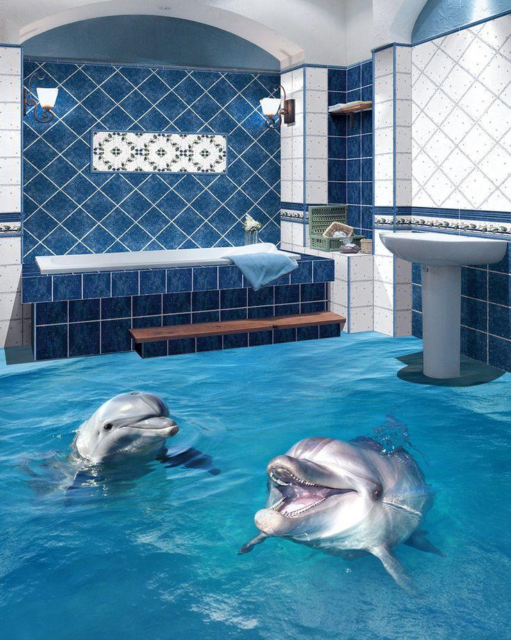 13 best salle de bain rev tement de sol salle de bain trompe l 39 il 3d images on pinterest - Sol salle de bain jonc de mer ...