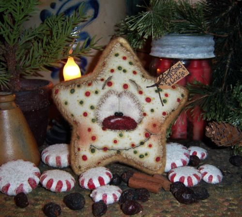 Primitive Christmas Santa Sugar Cookie Ornament Snowman Star Vtg Patti's Ratties