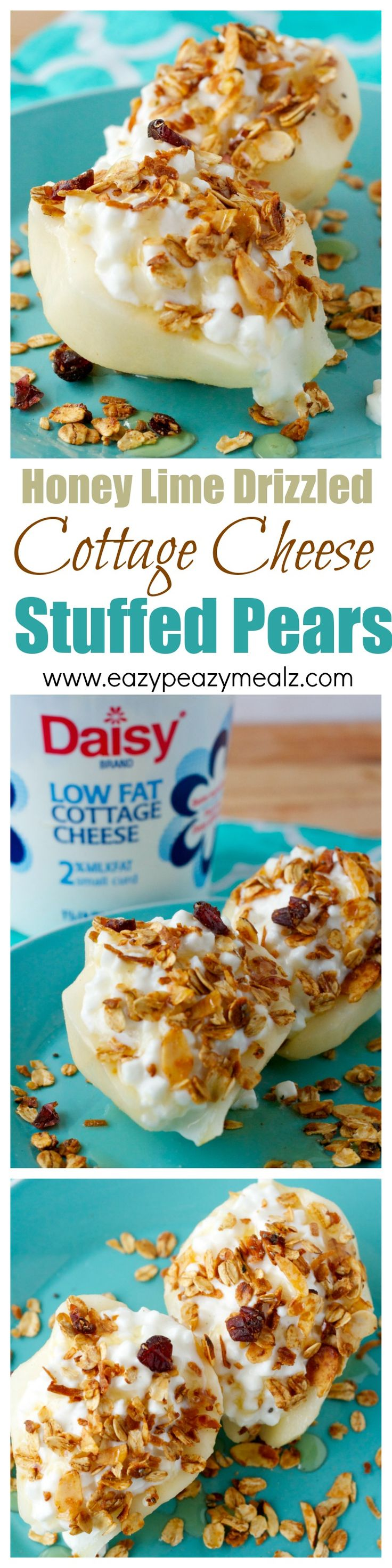 5 minute, clean eating breakfast full of protein, these honey lime drizzled cottage cheese stuffed pears are the perfect go-to breakfast on busy days. #ad - Eazy Peazy Mealz