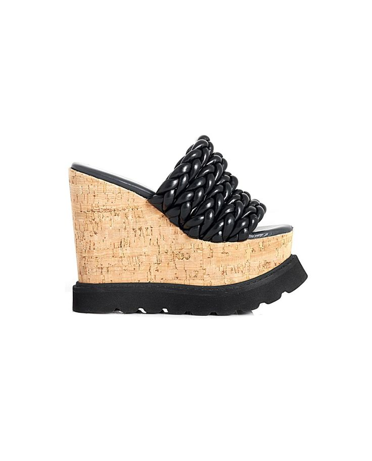 BRUNO BORDESE LEATHER BRAIDED WEDGE SHOES S/S 2016 Black leather  braided wedge shoes open back cork wedge: 10 cm