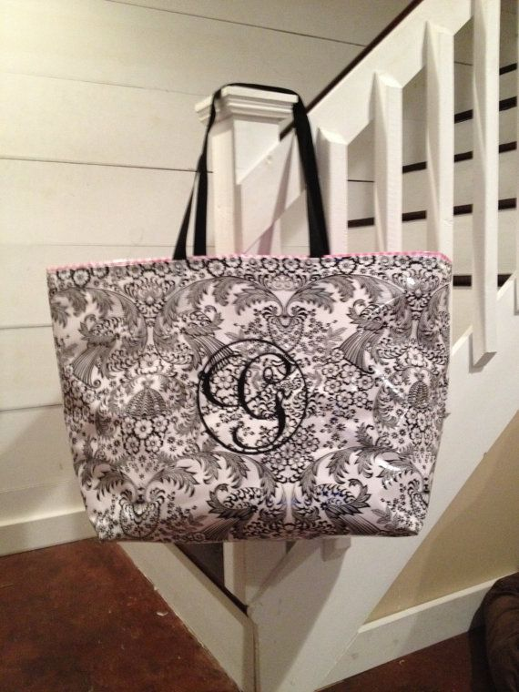 An updated classic look:  black toile, pink gingham and a fabulous monogram! Large Black Toile / Bubble Gum Pink Gingham Waterproof Oilcloth Tote Bag / Beach Bag /  Boat Bag / Diaper Bag with 1- Letter Monogram Fun and functional.  Stylish and sturdy.  Irresistibles.