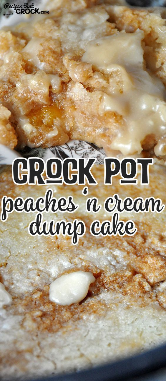 Need a dessert that is delicious and simple? Then you don't want to miss this Crock Pot Peaches 'n Cream Dump Cake! Oh. My. Yum!