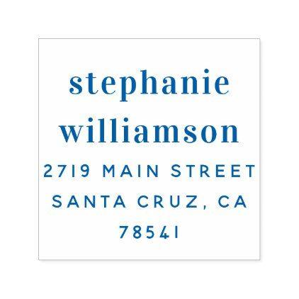 Elegant Blue Typography Wedding Return Address Self-inking Stamp - typography gifts unique custom diy