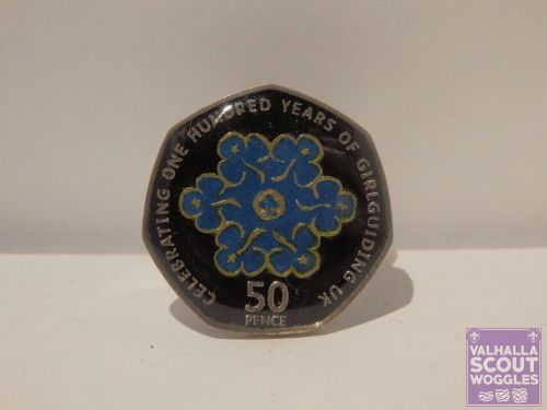 Enamelled Scouting Centenary 50p Coin Scout Woggle - Black & Blue  http://valhallawoggles.co.uk/shop/4592816839/enamelled-scouting-centenary-50p-coin-woggle---black-blue/10900168