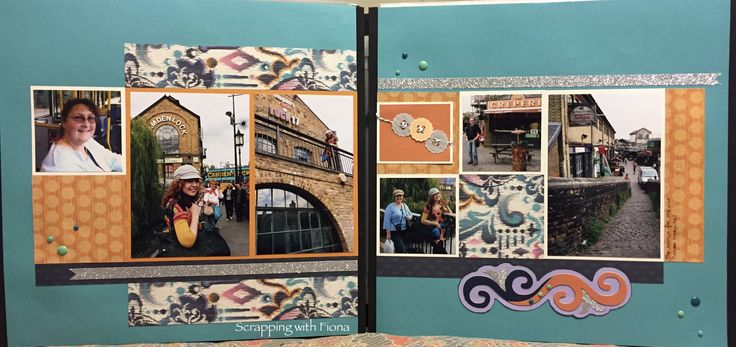 A window of photos against a decorated background. #scrapbooking #scrapbookinglayout  #scrapbookingideas