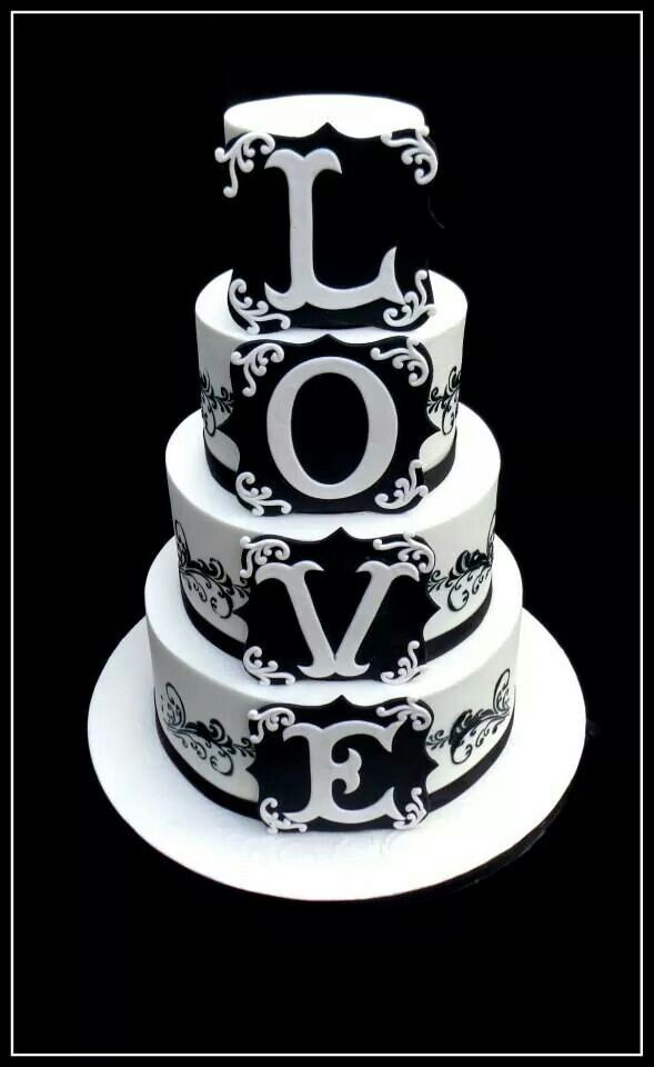 Stunning black and white cake