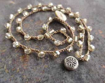 Dainty crochet necklace - Barely There - neutral Swarovski crystal Thai silver neutral bohemian boho layering yoga necklace by slashKnots