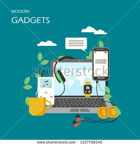 Stock Vector: Modern gadgets vector flat illustration. Laptop, mobile phone, headphones, music player, smart watch. Fashionable electronic devices and…