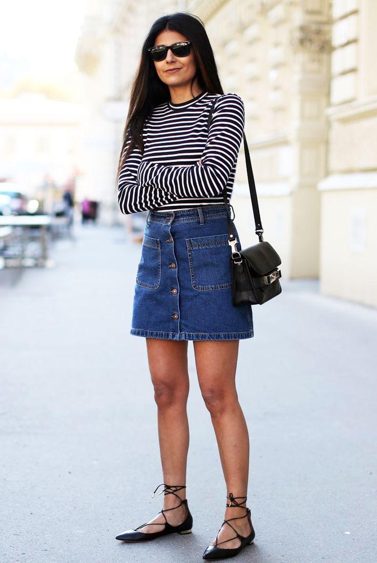Zara Button Front Denim Skirt, T By Alexander Wang Striped Top, Aquazzura  'Christy' Flats, Proenza Schouler mini and Rayban Wayfarers