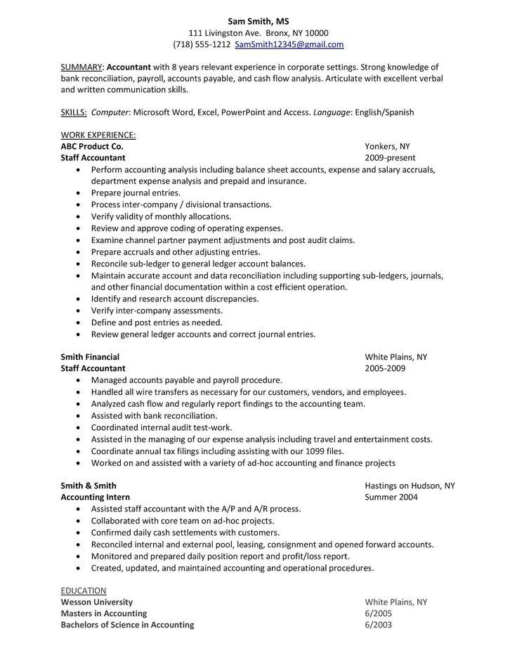 Free sample staff accountant resume senior inside