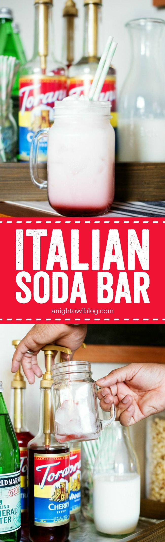 Perfect for Game Day! Put together a Torani Italian Soda Bar - delicious and fun for guests! Free printable instructions. #WorldMarketTribe