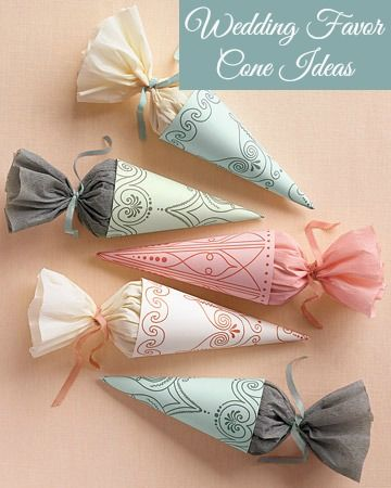 DIY Wedding favor cone ideas. Use these pretty cones to put rice, seeds, or your favorite mints in for your guests. #wedding #party #gift #favors