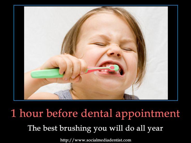 This is soooo Raina!: Dentalhumor, Dental Humor, Dental Hygiene, 6 Month, Funny, Dentists, Brushes, So True, Dental Appointment