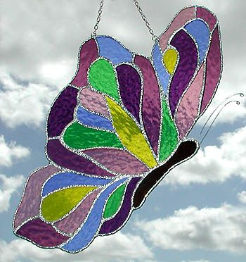 "Purple & Mauve Stained Glass Butterfly Suncatcher Design - 7"" x 12"""