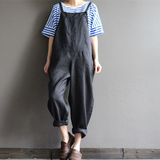 Black Linen, Loose Fit Overall Pants, Free Shipping Women Pants PQ3