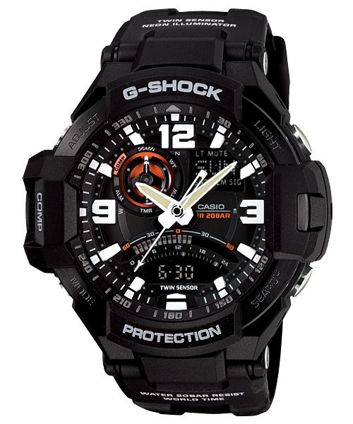 Geweldig vormgegeven CASIO G-SHOCK GRAVITY MASTER horloge, GA-1000-1AER. Stoer en sportief model met zwarte kast en zwarte wijzerplaat met oranje accenten, analoge-digitale tijdsaanduiding, dag-en datumaanduiding en alarm- en wereldtijd functie. De band is zwart en heeft een gespsluiting. In het horloge zit een LED-lampje die ultraviolet licht uitstraalt.