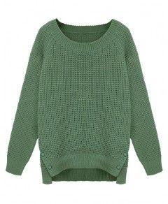 Vent Hem Scoop Neckline Knitting Pullover