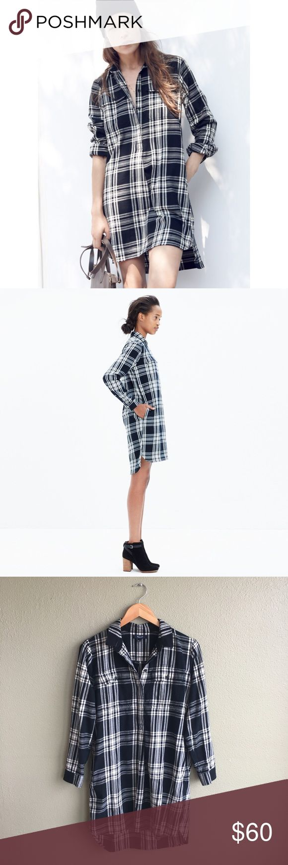 Madewell Daywalk Plaid Flannel Shirt Dress No trades! EXCELLENT CONDITION! Black and white flannel dress from Madewell. 100% cotton. Size small. Madewell Dresses