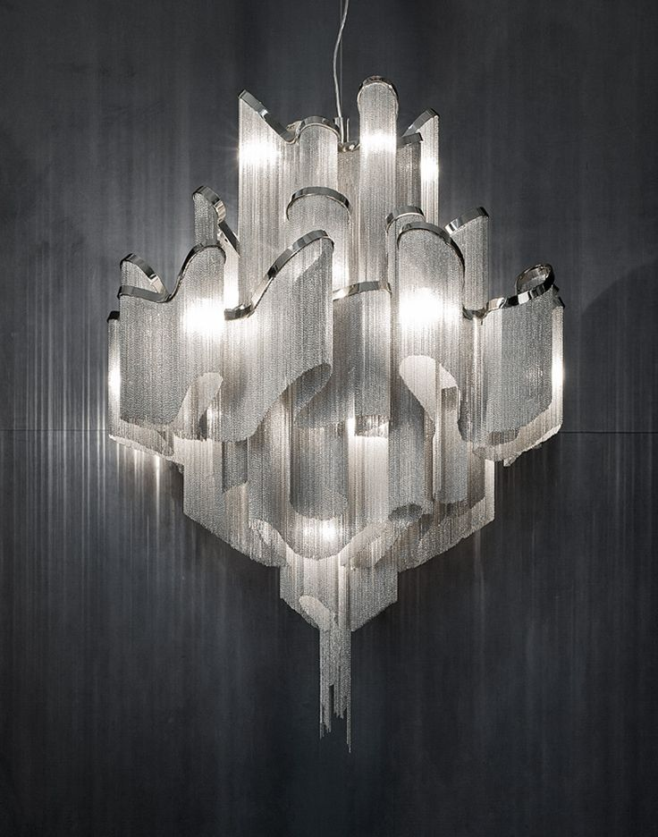 Kilometers Of Metal Chain Appear To Flow Down From The Undulatin,  Nickel Plated Frame · Contemporary ChandelierMetal ...