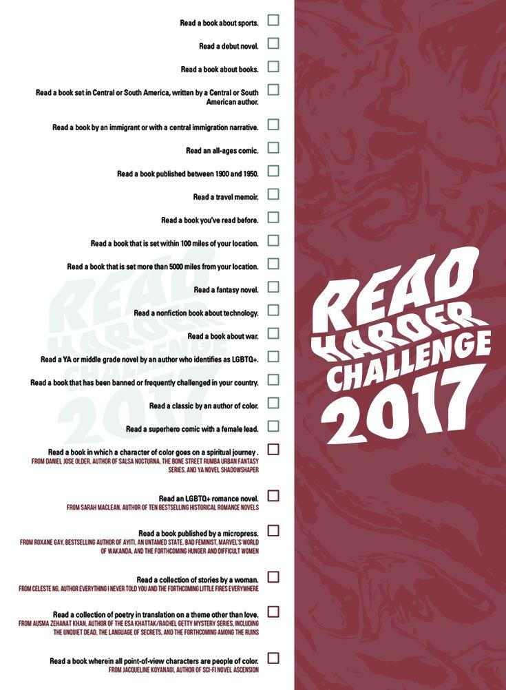 29 best read harder challenge 2017 images on pinterest challenge 2017 read harder challenge fandeluxe Images
