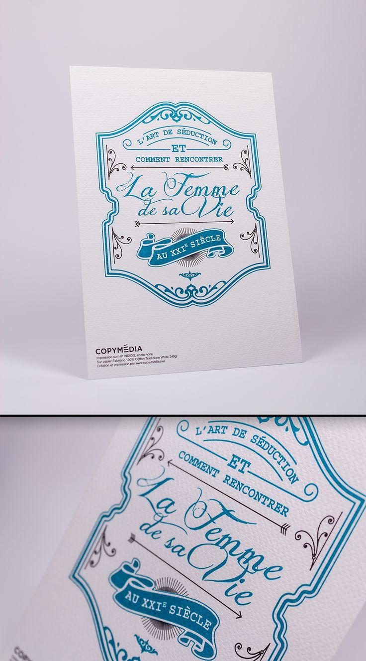 Exemple de Letterset ou impression typographique (couleur frappée sur le papier, donne du relief) sur Papier Fabriano 100% Cotton Tradizione White 240gr + Pantone Turquoise #HP #indigo #letterpress