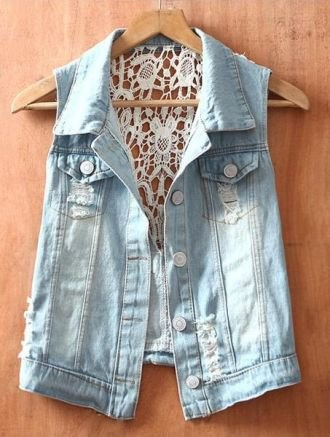 Blue Single Breasted Ripped Sequined Lace Denim Coat - Sheinside.com: Lace Denim, Jeans Jackets, Jeans Vest, Jean Jackets, Denim Jackets, Denim Vest, Lace Jeans, Lace Back, Coats