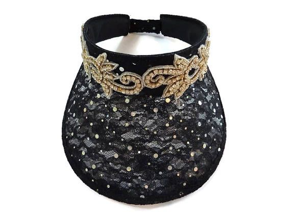 "Women's Golf Visor, Jeweled Sun Visor, Golf Gift, Bling Sport Visor, Soccer Mom Visor, Womens Golf Gift, Bachelorette Party, Black Lace Visor with Gold and Silver Rhinestone Applique is - ""Lovely in Lace and Bling"" Play, Run, Golf, Shop, Travel, Fix A Bad Hair Day, All While"