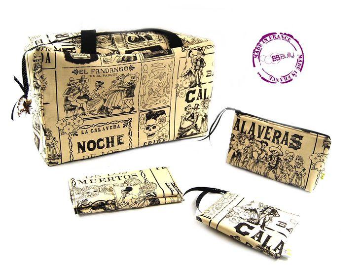 Ensemble sac,pochette de sac, porte-monnaie, porte-chéquier tissu frida sépia