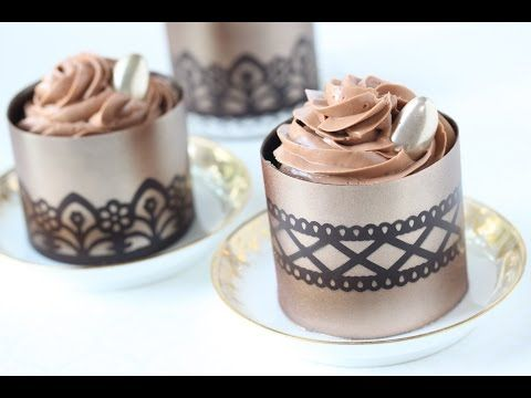 How to Make Stenciled Chocolate Dessert Cups - YouTube