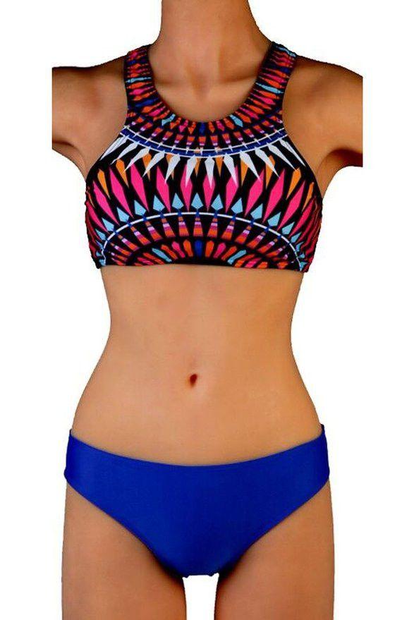 Womens Trendy Design Print Halter Tank Top Swimsuit