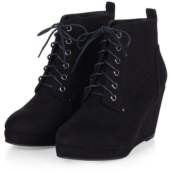 Black Suedette Lace Up Wedge Ankle Boots ($32) ❤ liked on Polyvore featuring shoes, boots, ankle booties, heels, wedges, black ankle boots, lace up heel booties, ankle boots, lace-up wedge booties and lace up wedge bootie