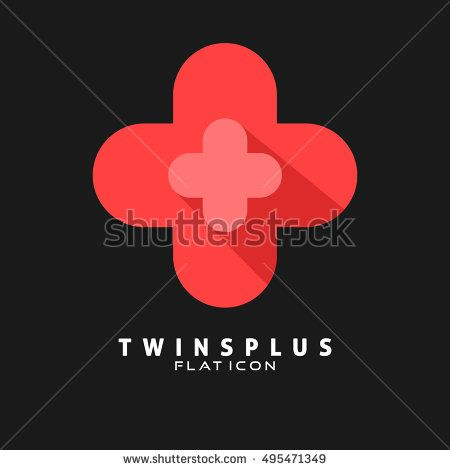 Twins Plus Flat icon. Logo template for medical, health and Hospital. Vector eps.10