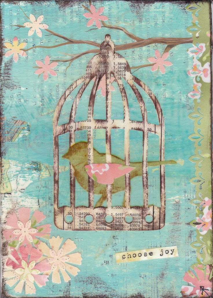 "Mixed Media Art Original ""Choose Joy"" 5x7  Spring Blossom Bird with birdcage, twigs, tree and flowers"