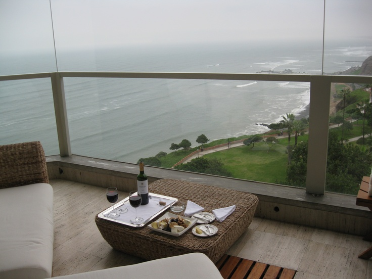 View of the Pacific Ocean from the balcony of the Miraflores Park Hotel in Lima, Peru